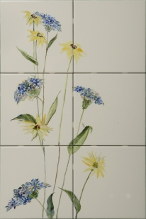Daisy, 20x24, Price 290, China Paint, tile