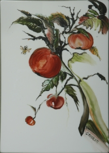 Persimmon, 10x14, price 280, China paint, tile