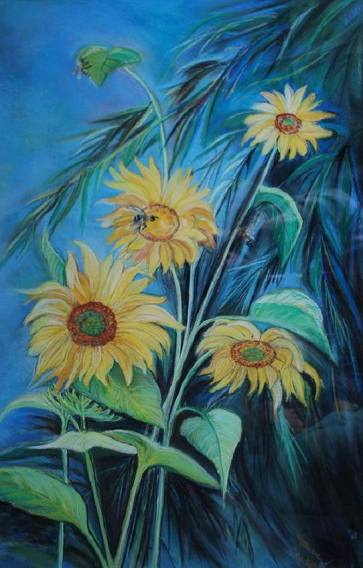 SunflowersWithBees